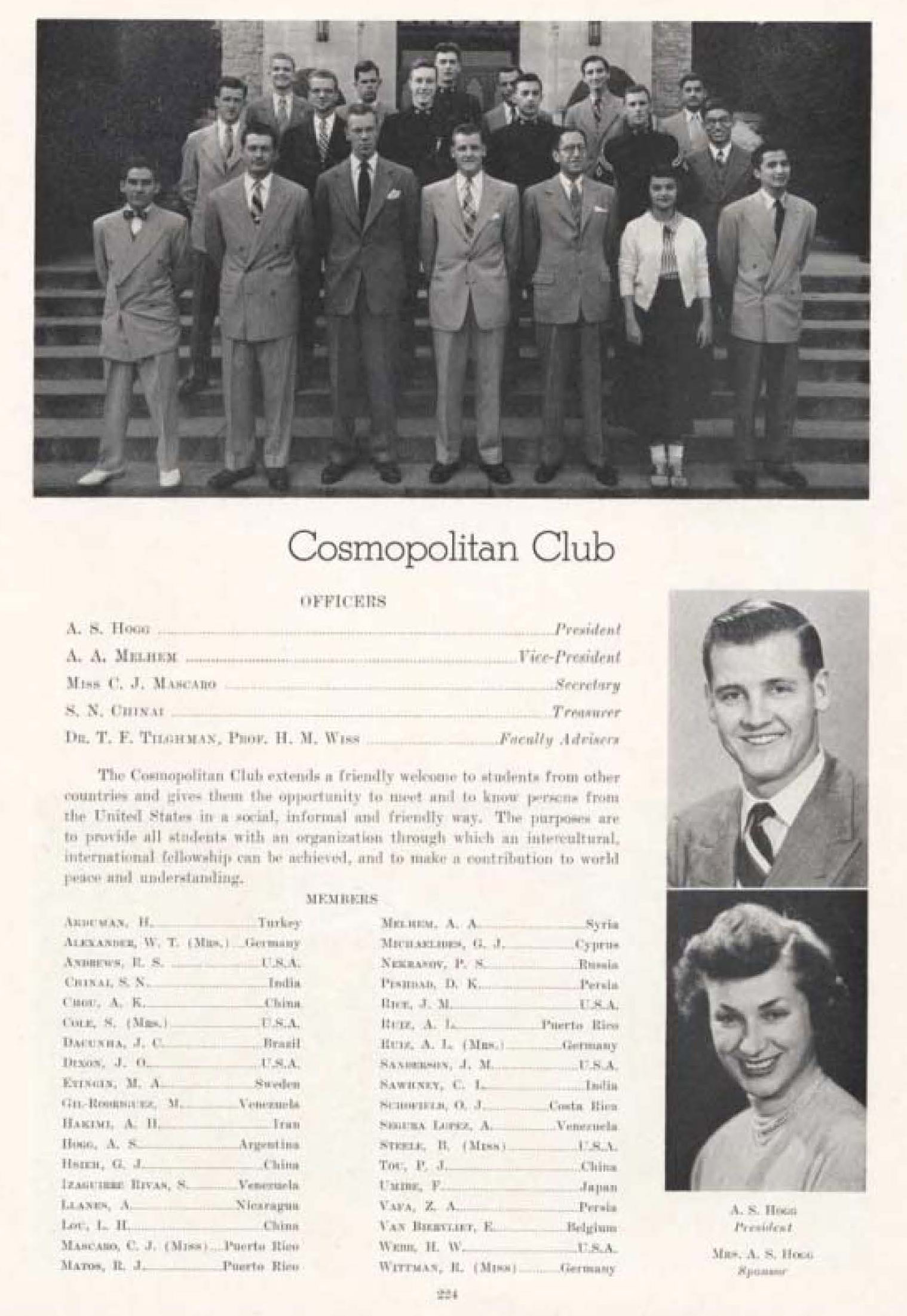 image of comopolitan club and list of members